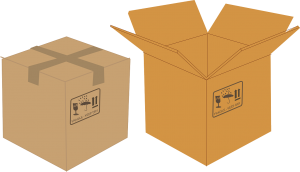 Opened and closed moving boxes