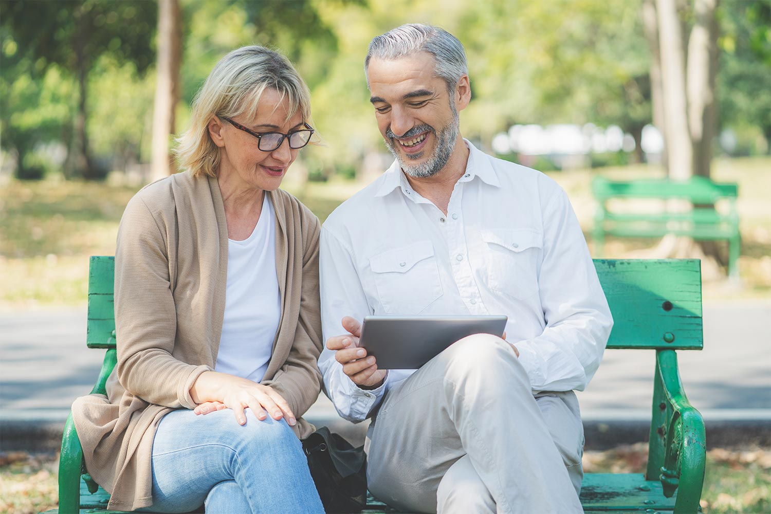 A Senior Couple Is Chatting Online