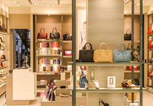 A look into a store with handbags.