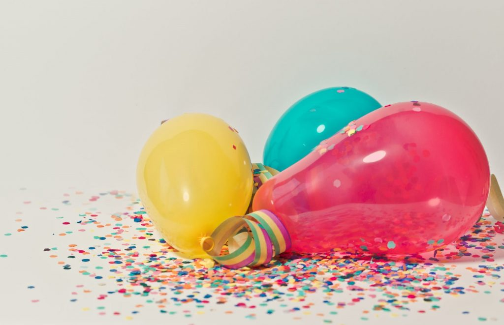 Balloons in different colors