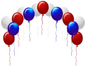 white, red and blue balloons