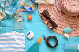 hat, sunglasses and other beach accessories