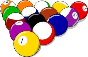 colorful pool balls in a triangle