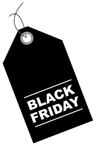black label with the black Friday writing