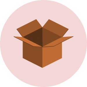 an open cardboard in a pink circle