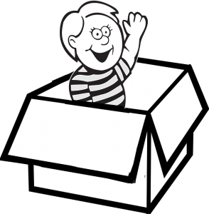 black and white animated boy waving from the cardboard box