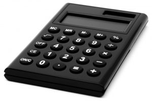 black solar calculator on a white background