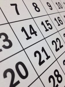 close-up photo of calendar used when picking a moving date