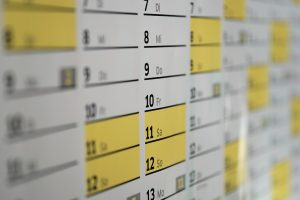 calendar with marked days