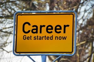 a road sign career- get started now as a a motivation for the people moving to Boston from NYC