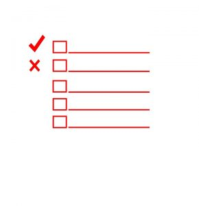 a red checklist used when moving into a small apartment
