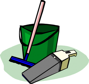 Cleaning supplies, green bucket and blue mop