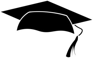 A black academic cap designed on white background