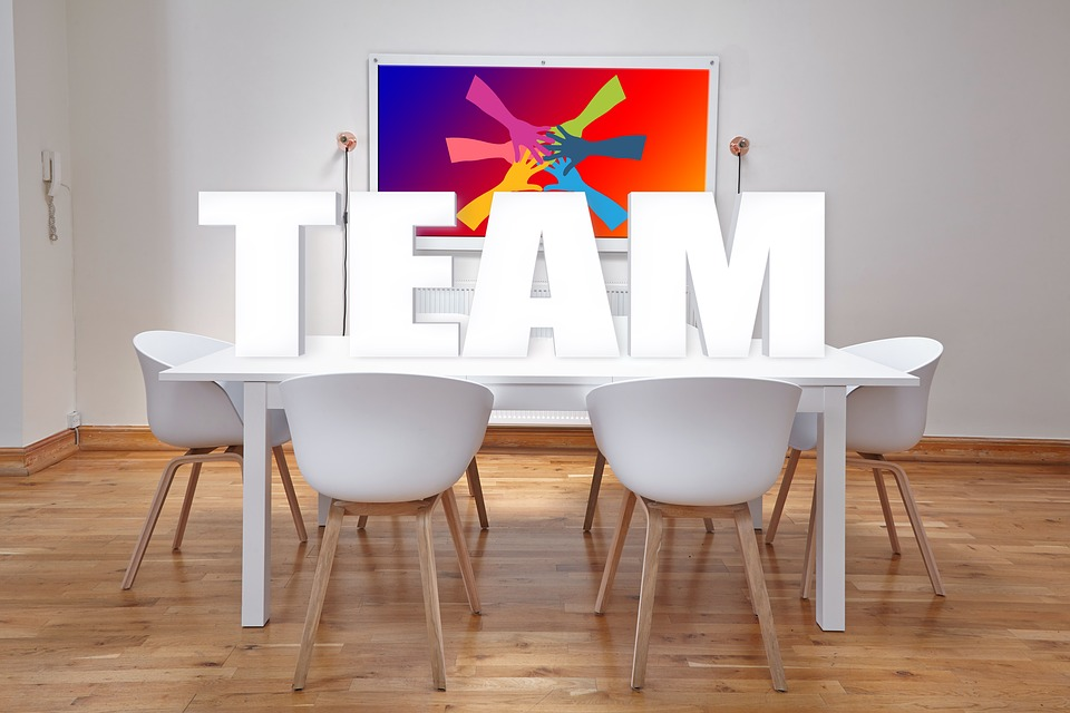A conference room with the word team on it.