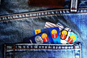 credit cards in a pocket ready for hiring white glove movers