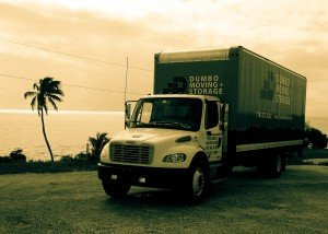 New York moving truck near the beach
