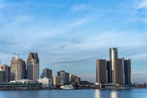 Detroit, Michigan - A Panoramic View Of The City