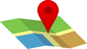 colorful map with a red pinpoint