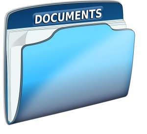 blue folder with documents
