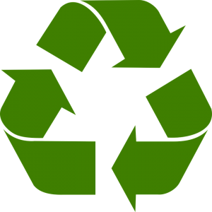 green recycling symbol on a white background