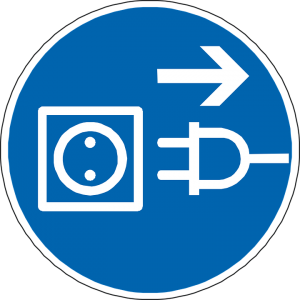 electrical outlet and a cord drawn in a blue circle