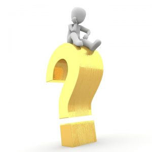 3D male model sitting on a large yellow question mark