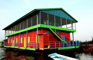 a colorful floating home