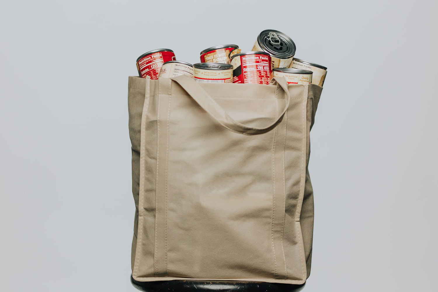 A Bag with Canned Food