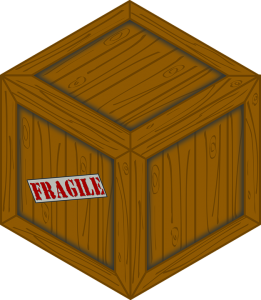 a wooden box with a fragile sign