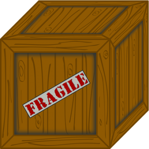 A cardoard box with a label which says 'Fragile'