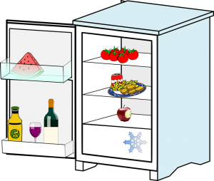 an open fridge with food supplies