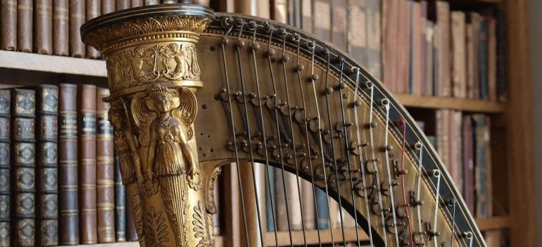 Harp in library