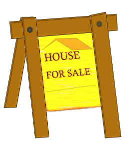 a yellow wooden signboard indicating that you are selling a house