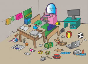 an animated roommate's messy bedroom with lots of toys on the floor and under the table