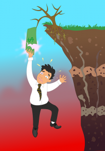 A man holding to a dollar bank in order not to fall from the cliff