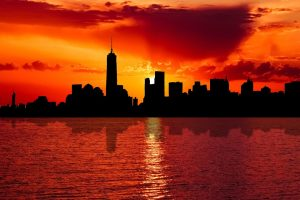 NYC skyline in the sunset