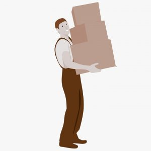 a mover holding cardboard boxes