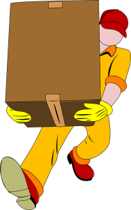 a mover in yellow carrying a box wants to prepare belongings for coast-to-coast shipping