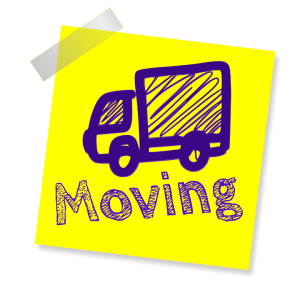 yellow sticker with a hand-drawn moving truck and moving sign