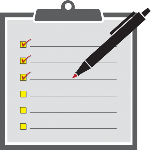 A blank moving checklist with a pen