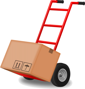 red moving equipment (dolly) with a box on it