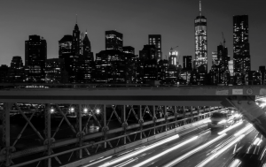 New York City bridge with moving cars