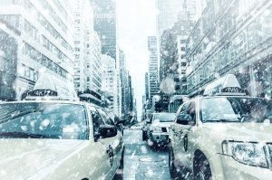Snow in NYC streets. - Illustration why you should relocate to New York in your 20s