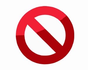 red prohibition sign on a white background indicating what movers won't move