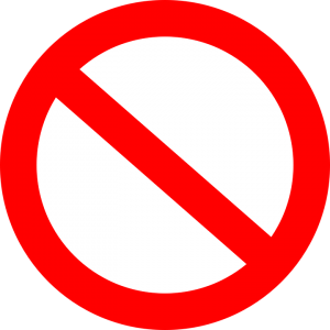 red prohibition sign indicating what's not allowed in the moving truck