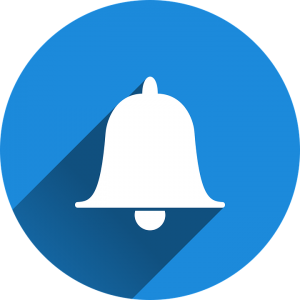 notification sign - white bell in a blue circle