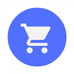 a cart in a blue circle indicating the cheapest places to buy moving boxes