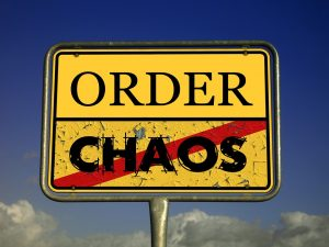 yellow traffic sign order and chaos