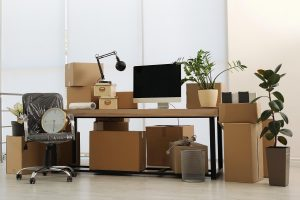 Home office packed up and ready for a move