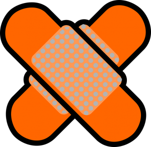 an orange patch used when moving while injured